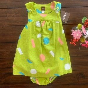 NWT TEA COLLECTION LINEN DRESS BLOOMERS SET DOTS